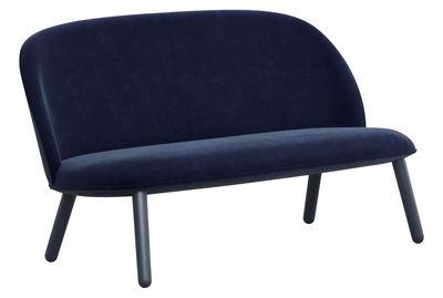 Canapé droit Ace / 2 places - L 145 cm - Velours & bois - Normann Copenhagen bleu foncé en tissu