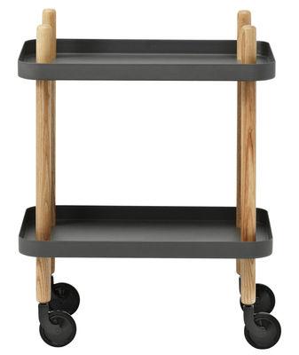 Arredamento - Complementi d'arredo - Carrello/tavolo d'appoggio Block - /Sur ruote di Normann Copenhagen - Grigio scuro - Acciaio, Frassino