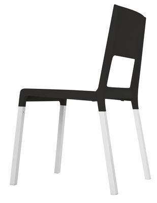 Chaise empilable Face Plastique pieds métal Kristalia noir en matière plastique