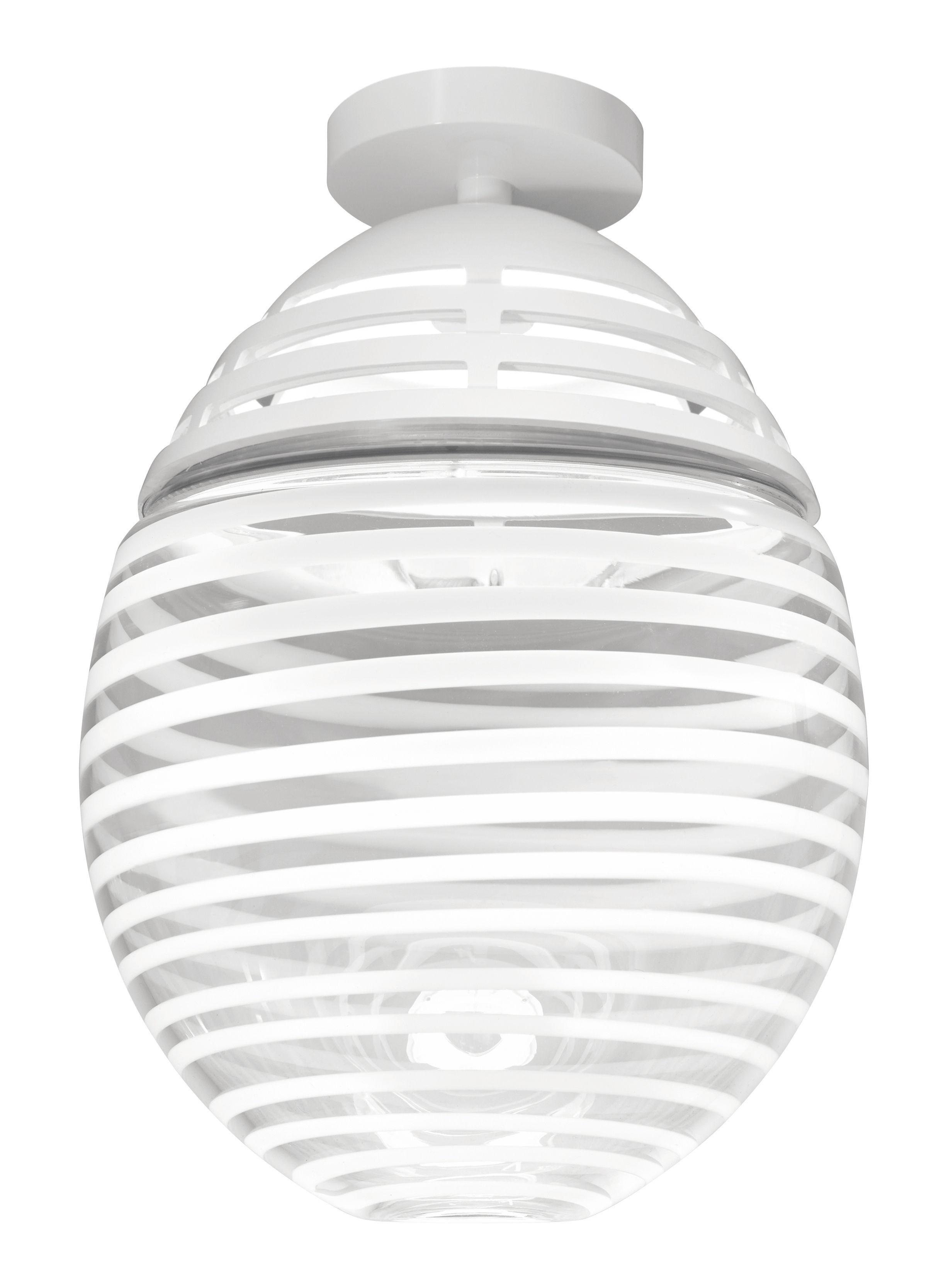 Leuchten - Deckenleuchten - Incalmo LED Deckenleuchte / Ø 39 cm x H 60 cm - mundgeblasenes Glas & Aluminium - Artemide - Transparent mit weißen Streifen - bemaltes Aluminium, geblasenes Glas