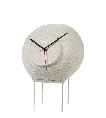 Decoration - Wall Clocks - Pilotis Desk clock - / Papier-mâché - H 28 cm by Serax - White - Papier-mâché