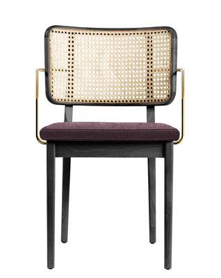 Mobilier - Chaises, fauteuils de salle à manger - Fauteuil bridge Cannage / Tissu - Accoudoirs laiton - RED Edition - Tissu Prune / Noir - Chêne massif teinté, Coton, Laiton, Mousse, Rotin
