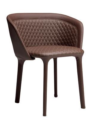 Mobilier - Chaises, fauteuils de salle à manger - Fauteuil rembourré Lepel / Cuir véritable matelassé - Casamania - Cuir marron foncé / Coutures jaunes - Cuir véritable, Métal, Mousse polyuréthane
