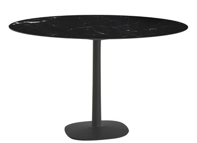 Outdoor - Tables de jardin - Table ronde Multiplo indoor/outdoor - Effet marbre/ Ø 118 cm - Kartell - Noir - Aluminium verni, Grès cérame effet marbre