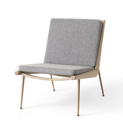 Furniture - Armchairs - Boomerang HM1 (1956) Padded armchair - / Oak by &tradition - Grey (Hallingdal wool fabric) - Brass, Fabric, HR foam, Solid oak