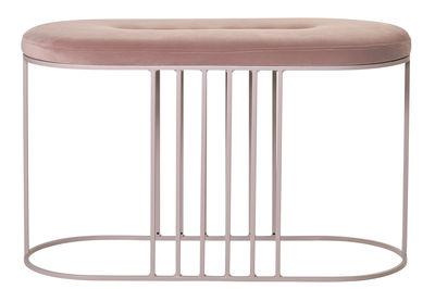 Arredamento - Pouf - Panca imbottita Posea - / Velluto - L 80 cm di Bolia - Velluto rosa nude / Base rosa - Acier vernis, Espanso, Velluto
