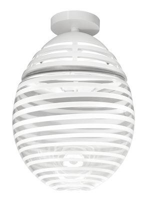 Luminaire - Plafonniers - Plafonnier Incalmo LED / Ø39 x H60 cm - Verre soufflé & aluminium - Artemide - Bandes blanches / Transparent - Aluminium peint, Verre soufflé