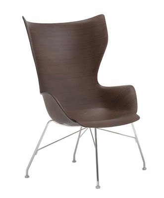 Arredamento - Poltrone design  - Poltrona K/Wood - / Schienale alto - Legno modellato di Kartell - Faggio scuro / Piede cromato - Acciaio cromato, Compensato di faggio sagomato verniciato scuro