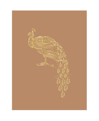 Decoration - Wallpaper & Wall Stickers - Poster - / Peacock - 30 x 40 cm by Bloomingville - Peacock / Brown - Paper