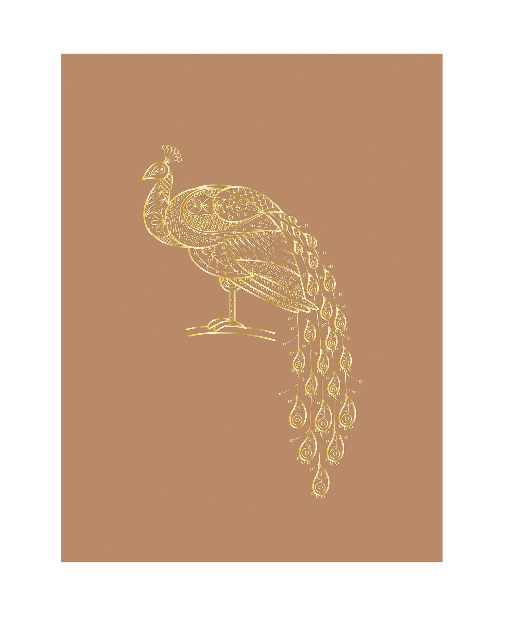Dekoration - Stickers und Tapeten - Poster / Pfau - 30 x 40 cm - Bloomingville - Pfau / Braun - Papierfaser