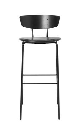 Arredamento - Sgabelli da bar  - Sedia da bar Herman - / H 76 cm - Cuoio di Ferm Living - H 76 cm / Cuoio nero - Acciaio laccato, Compensato di rovere laccato, Pelle anilina