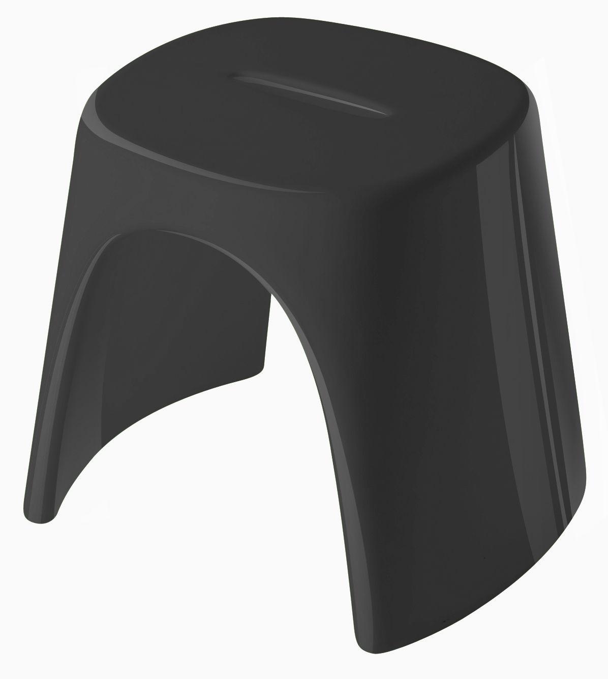 Arredamento - Sgabelli - Sgabello impilabile Amélie - versione laccata di Slide - Laccato nero - Polietilene riciclabile laccato