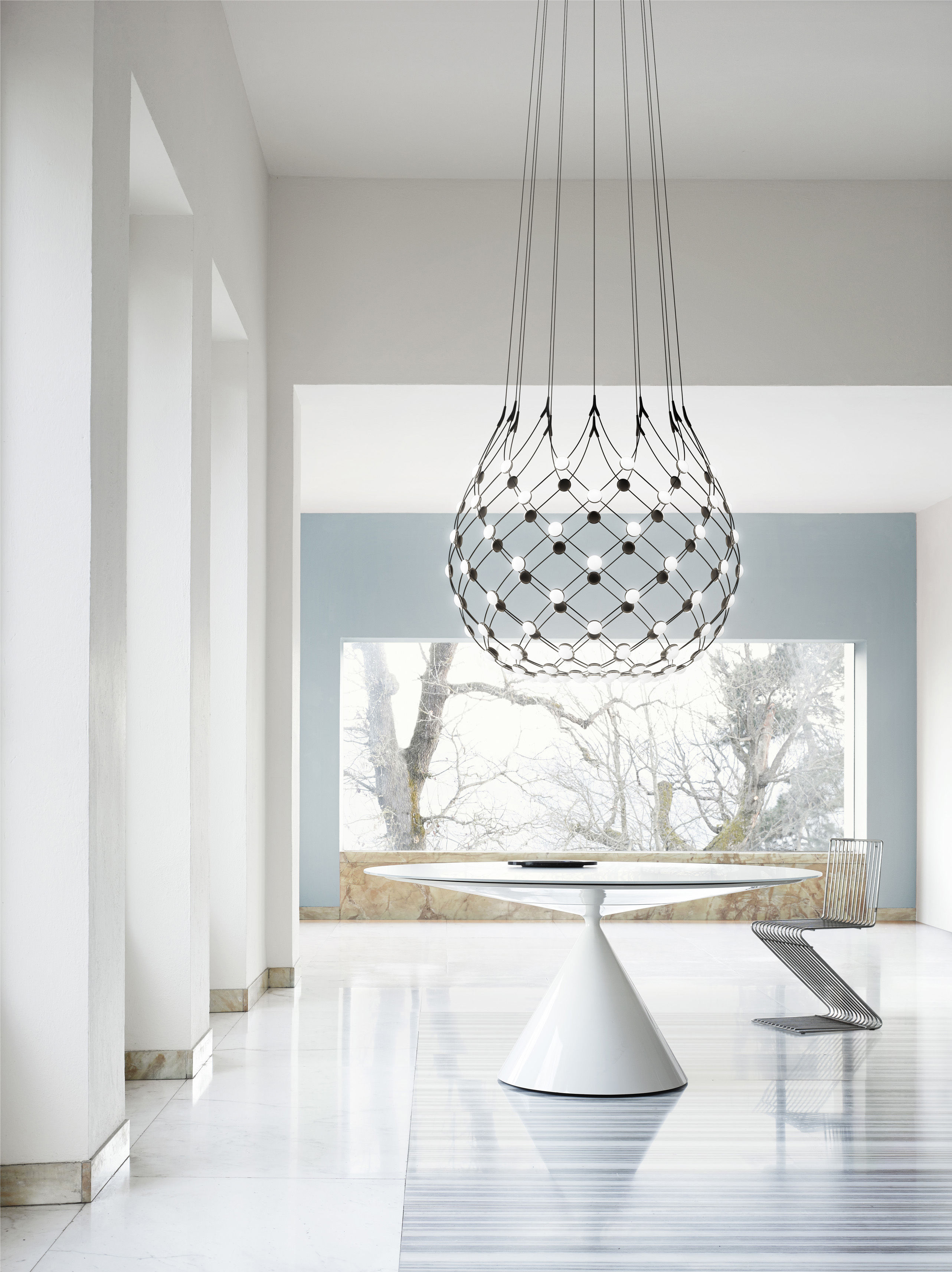 suspension mesh led large 100 x h 90 cm 100 cm noir luceplan made in design. Black Bedroom Furniture Sets. Home Design Ideas