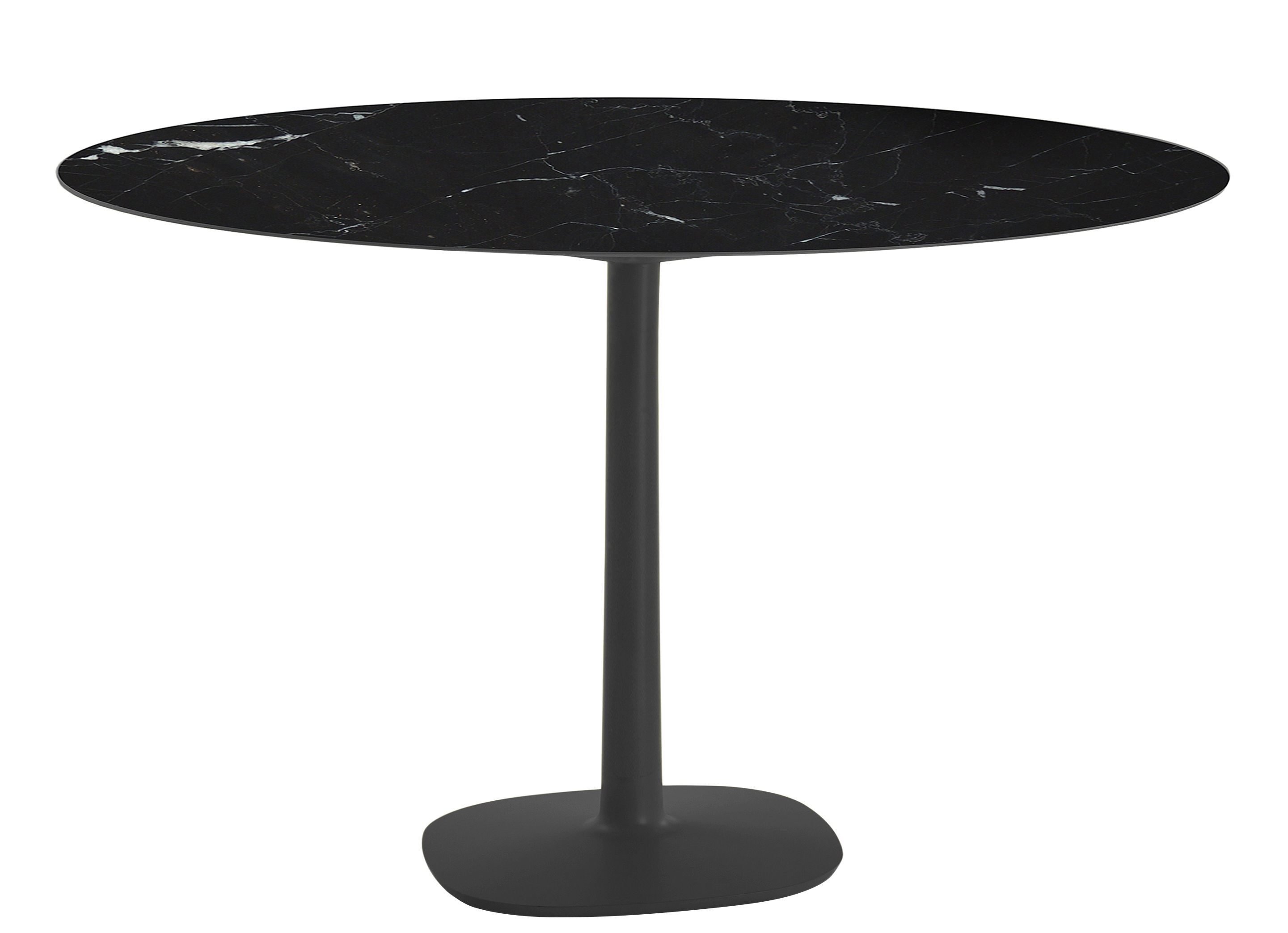 Jardin - Tables de jardin - Table Multiplo indoor/outdoor - Effet marbre/ Ø 118 cm - Kartell - Noir - Aluminium verni, Grès cérame effet marbre