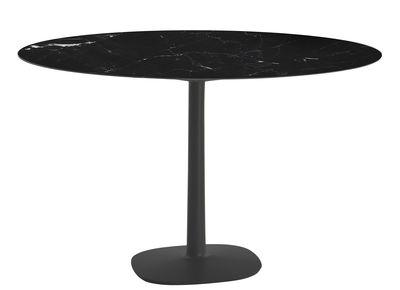 Table ronde Multiplo indoor/outdoor - Grès effet marbre/ Ø 118 cm - Kartell noir en céramique/pierre
