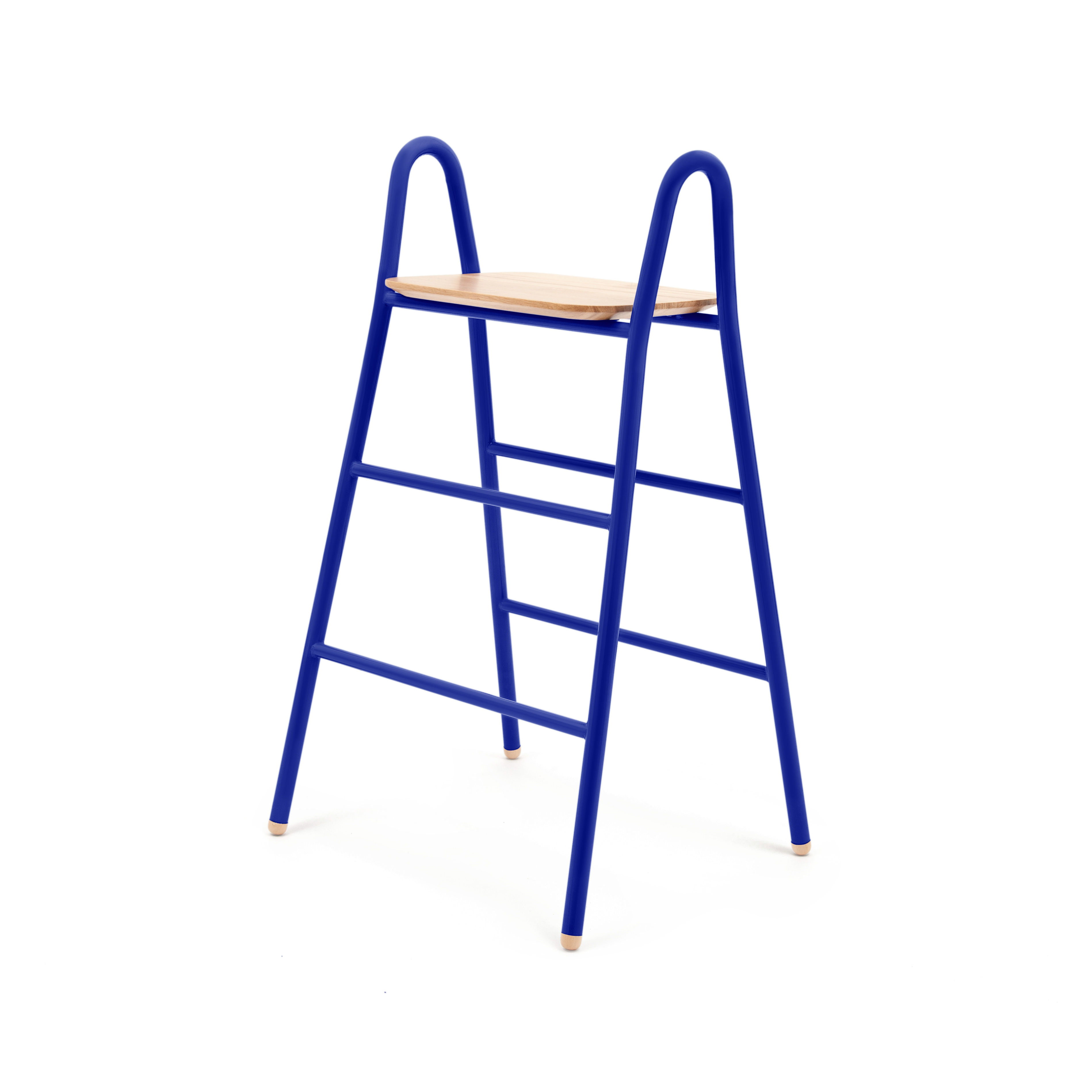 tabouret de bar lucien h 75 cm assise bois bleu. Black Bedroom Furniture Sets. Home Design Ideas