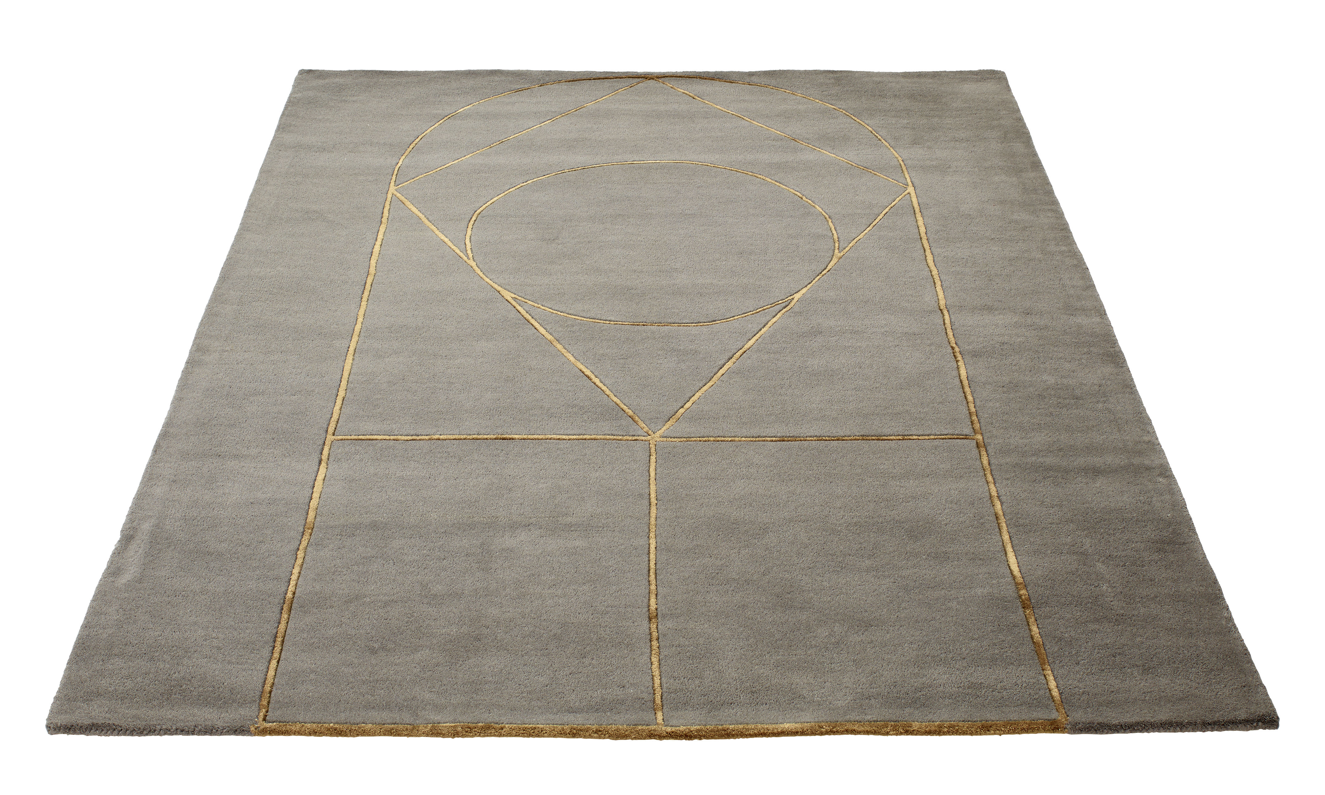Déco - Tapis - Tapis Simbolo / 170 x 240 cm - Fait main - Bolia - Gris / Motifs dorés - Laine, Viscose