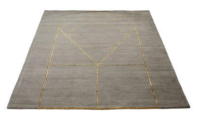 Interni - Tappeti - Tappeto Simbolo - / 170 x 240 cm - Fatto a mano di Bolia - Grigio / Motivi dorati - Lana, Viscosa