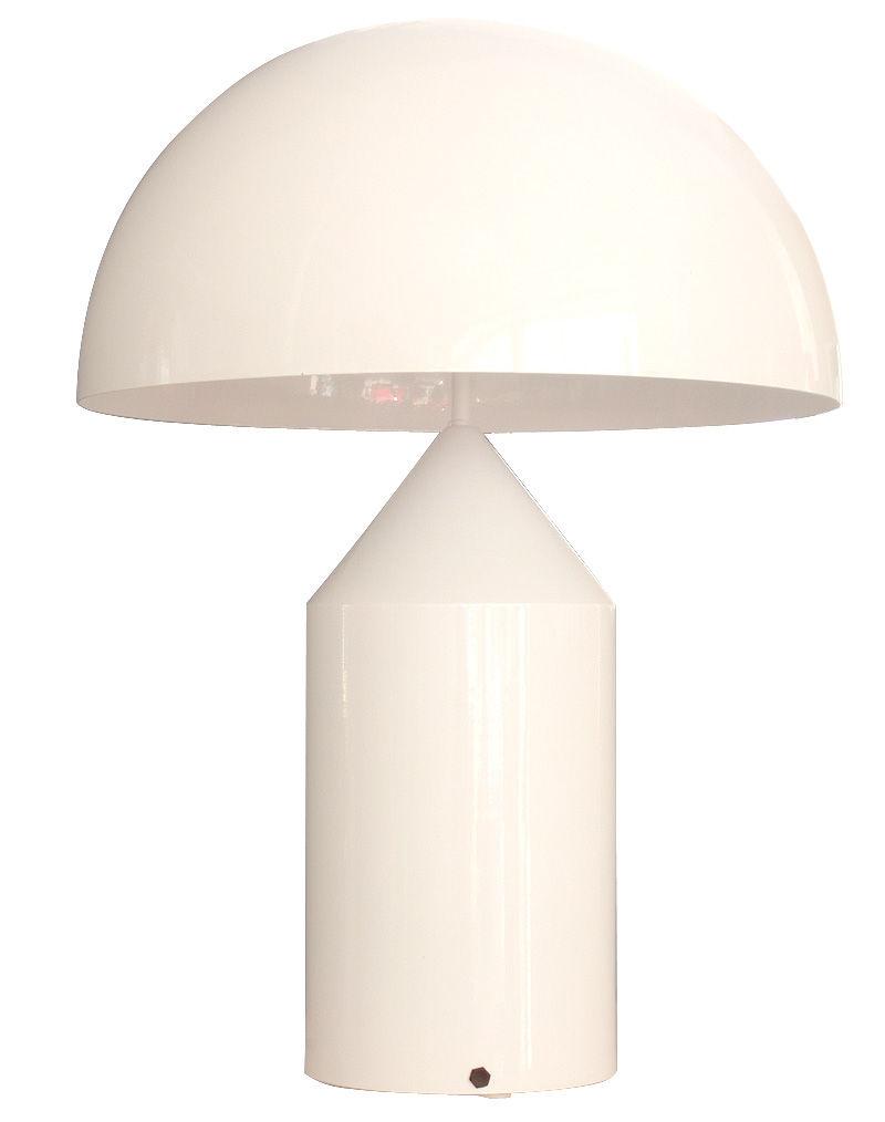 Leuchten - Tischleuchten - Atollo Large Tischleuchte - O luce - Weiß - klarlackbeschichtetes Aluminium