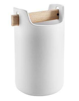 Accessoires - Accessoires für das Büro - Toolbox Topf / Ø 18 cm x H 20 cm - Keramik & Eiche - Eva Solo - Weiß / Eiche - Eiche, Keramik