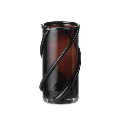 Decoration - Vases - Entwine Small Vase - / Mouth-blown glass - H 21 cm by Ferm Living - H 21 cm / Dark amber - Mouth blown glass