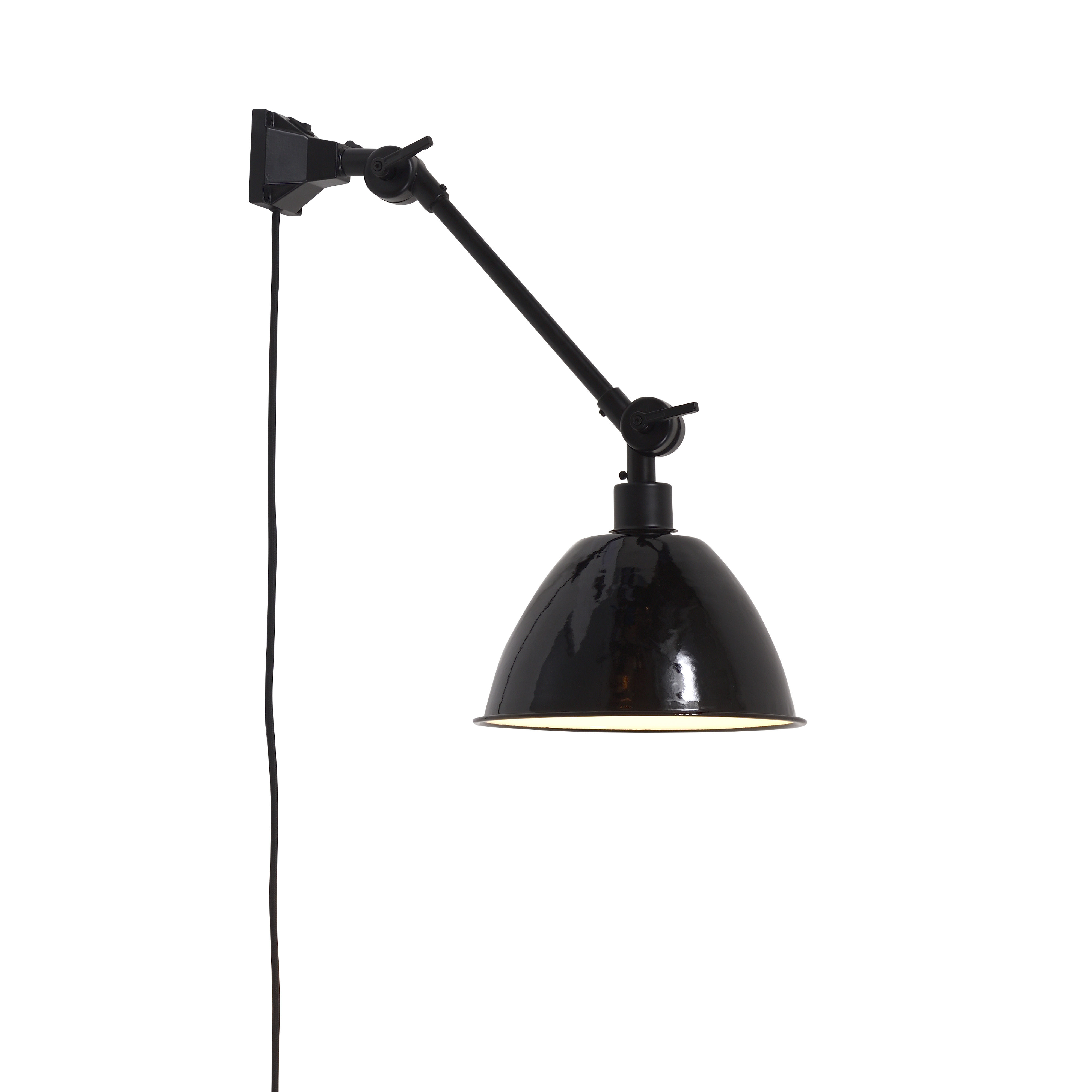 Lighting - Wall Lights - Amsterdam Small Wall light with plug - / Metal lampshade - L 60 cm by It's about Romi - Black - Iron