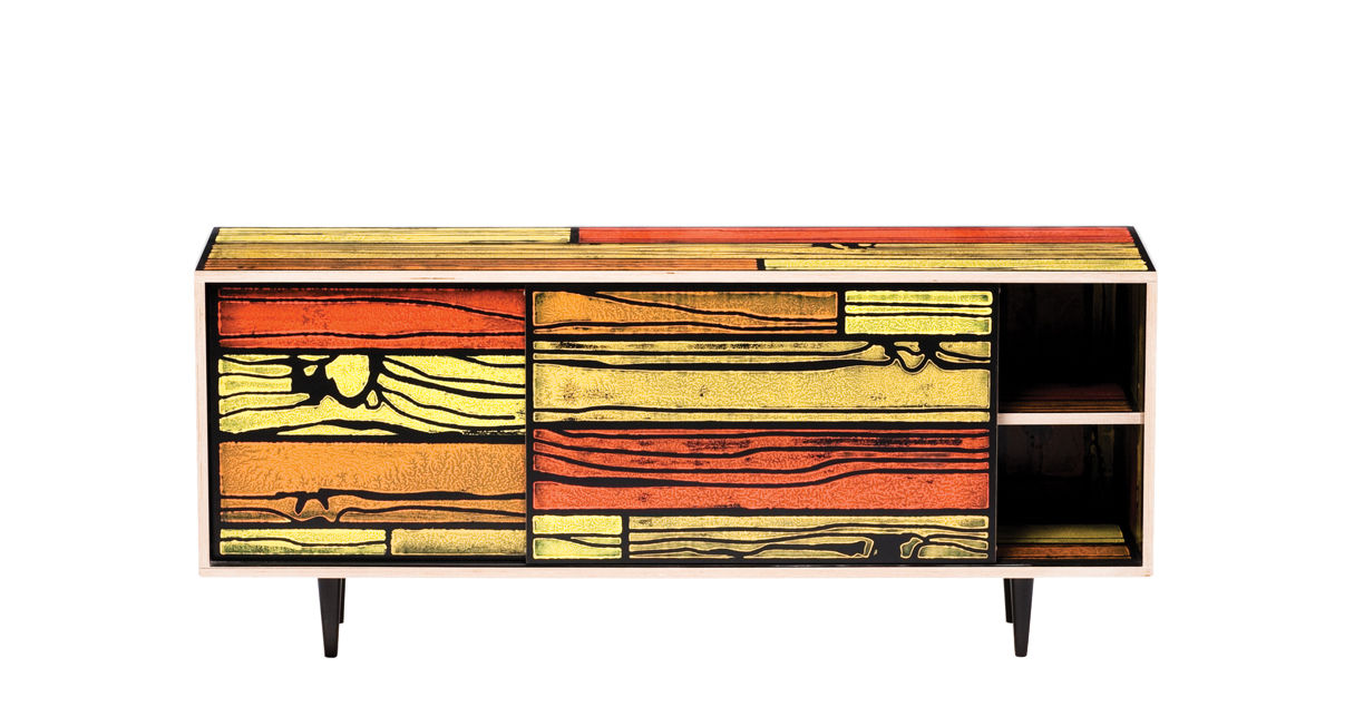 Möbel - Außergewöhnliche Möbel - Wrongwoods Anrichte L 150 cm - Established & Sons - Rottöne - bemaltes Furnier