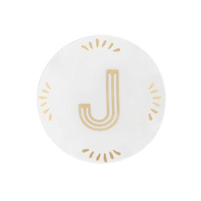 Arts de la table - Assiettes - Assiette à mignardises Lettering / Ø 12 cm - Lettre J - Bitossi Home - Lettre J / Or - Porcelaine