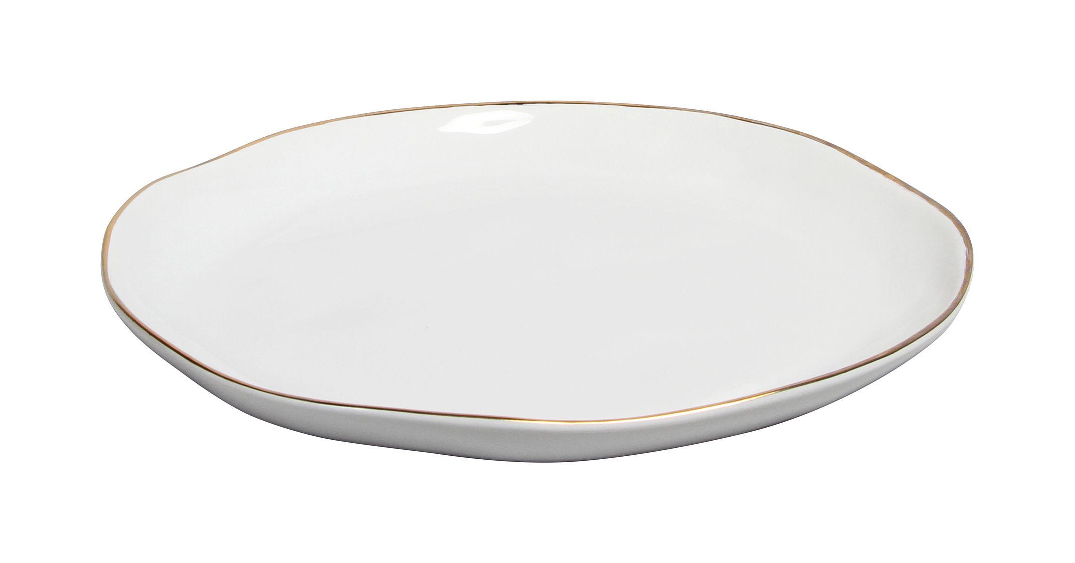Arts de la table - Assiettes - Assiette / Porcelaine - Liseré or - & klevering - Blanc / Bord doré - Porcelaine