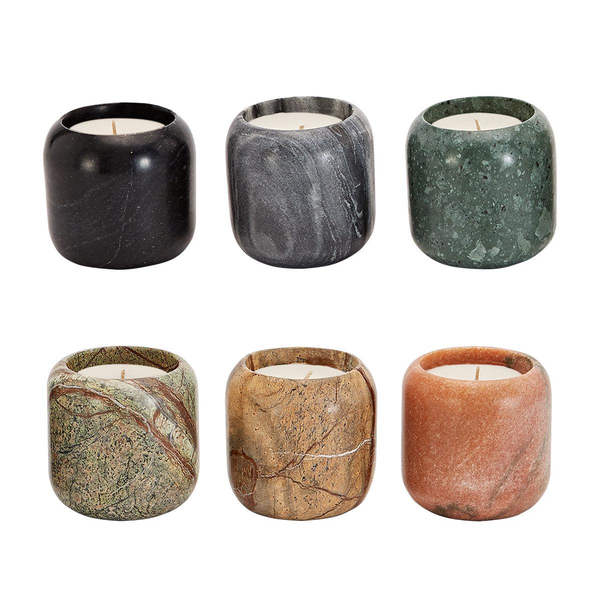 Déco - Bougeoirs, photophores - Bougie parfumée Stone Giftset / Set de 6 - Marbre - Tom Dixon - Marbres multicolores - Marbre