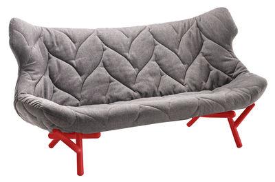 Canapé droit Foliage L 175 cm Kartell rouge,gris en tissu