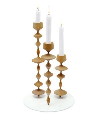 Decoration - Funny & surprising - Les Perles XL Candelabra - multi purpose - Triple - H 33 cm by Y'a pas le feu au lac - Natural - White base - Hornbeam, Lacquered steel