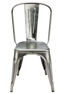 Mobilier - Chaises, fauteuils de salle à manger - Chaise empilable A / Acier brut - Pour l'intérieur - Tolix - Acier brut verni brillant - Acier brut verni brillant recyclé