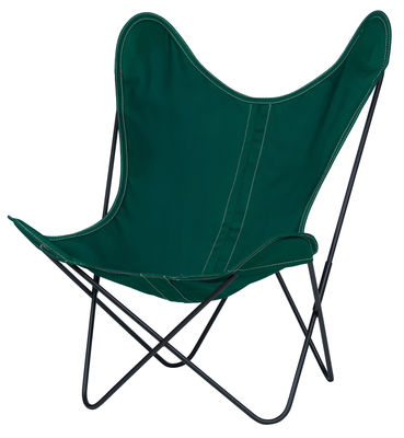 Chaise AA Butterfly OUTDOOR / Coton - Structure noire - AA-New Design vert en tissu