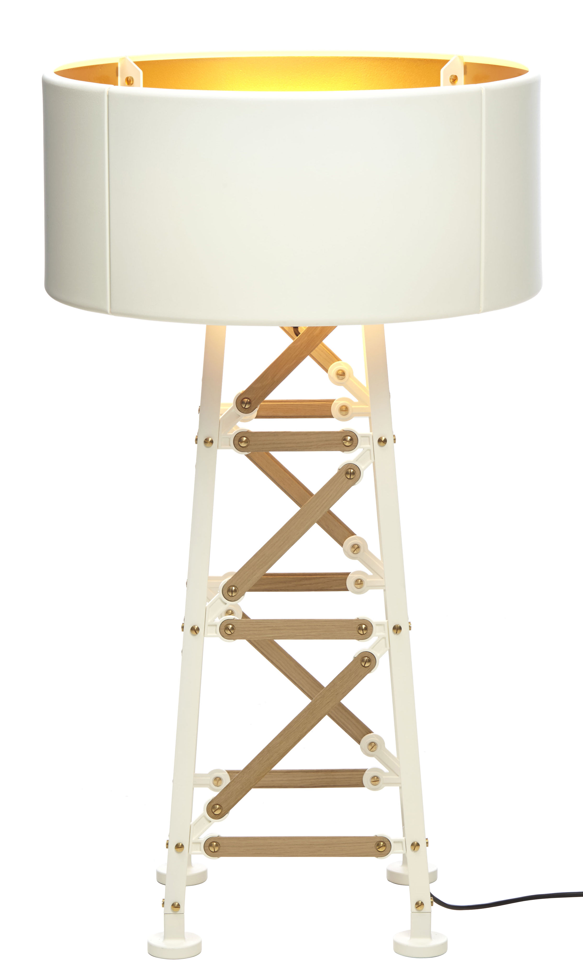 Lighting - Floor lamps - Construction Lamp Small Floor lamp by Moooi - Natural wood / white - Aluminium, Wood