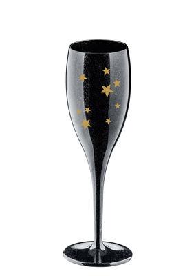 Arts de la table - Verres  - Flûte à champagne Cheers Stars / Plastique - Koziol - Noir & Or - Plastique