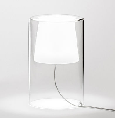 Illuminazione - Lampade da tavolo - Lampada da tavolo Join - Small / H 21 cm di Vibia - H 21 cm / Trasparente & bianco - vetro soffiato