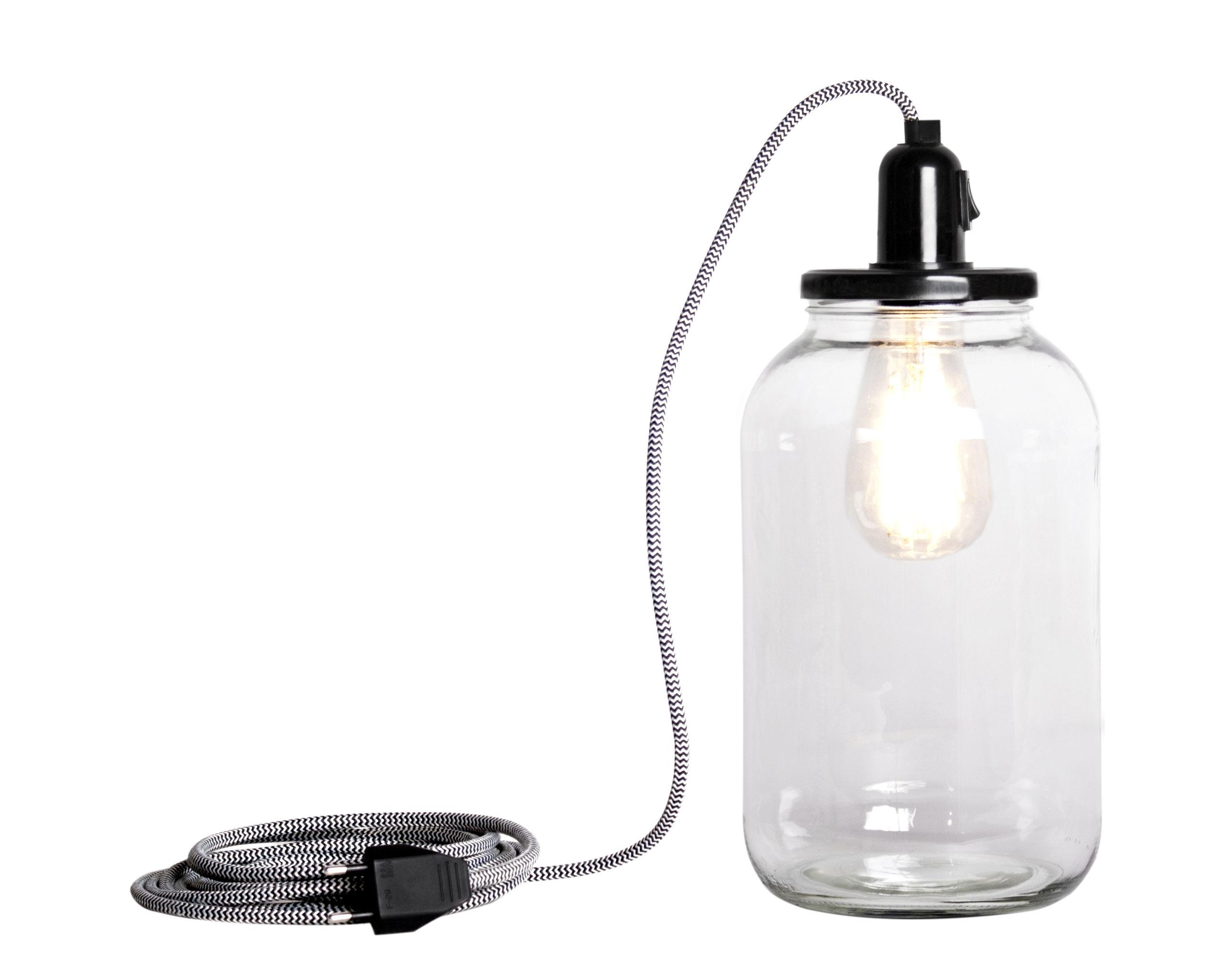Luminaire - Lampes de table - Lampe Pickle Light / Large H 30 cm - Pop Corn - Transparent / Couvercle noir - Bakélite, Verre recyclé