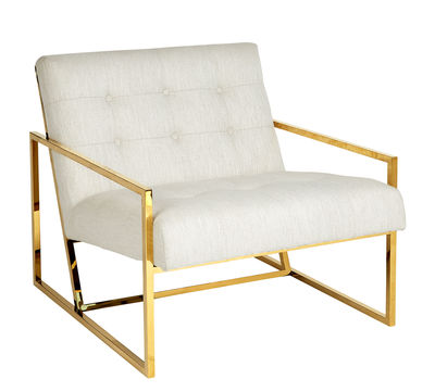 Furniture - Armchairs - Goldfinger Padded armchair - / Fabric & brass by Jonathan Adler - Cream beige / Brass - Fabric, Foam, Steel with polished brass finish