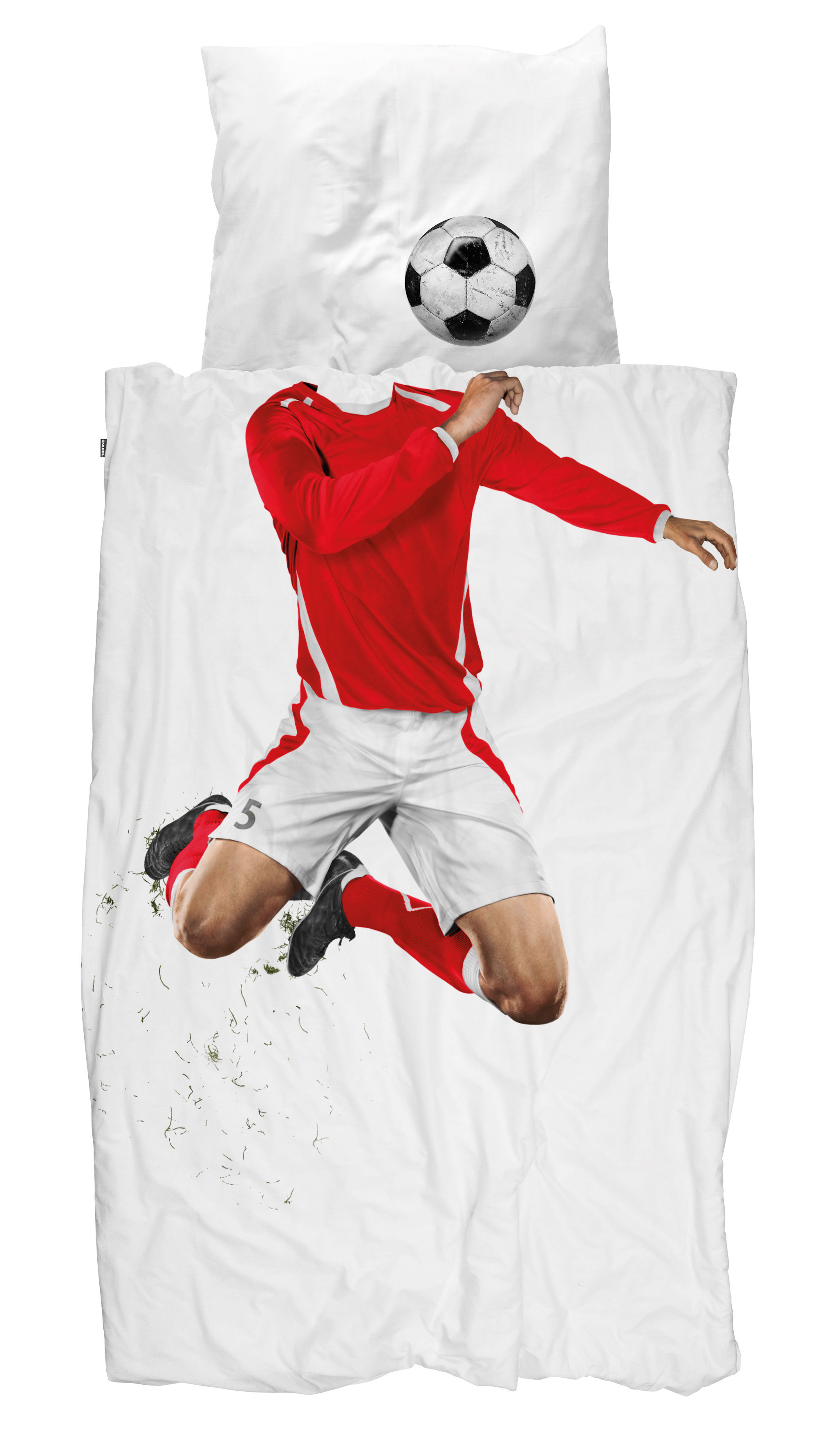 Parure de lit 1 personne Footballer / 140 x 200 cm - Snurk rouge en tissu