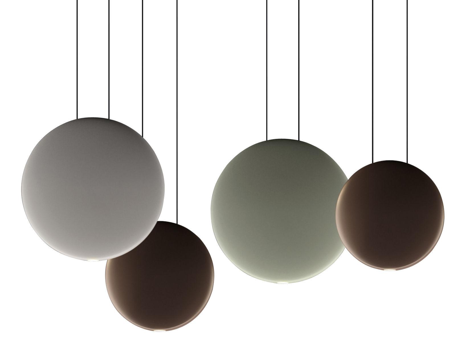 Leuchten - Pendelleuchten - Cosmos Pendelleuchte LED / Set mit 4 Pendelleuchten  - L 76 cm - Vibia - Grün Ø27 / Grau Ø27 / 2 x Braun Ø19 - Polykarbonat