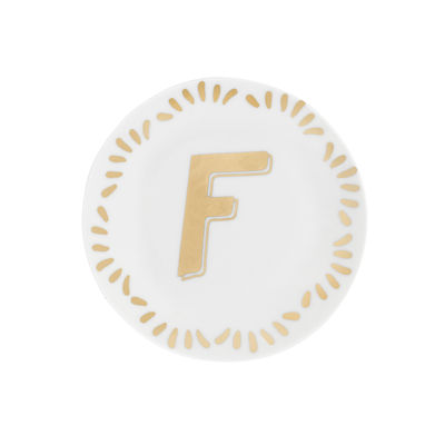 Tableware - Plates - Lettering Petit fours plates - Ø 12 cm / Letter F by Bitossi Home - Letter F / Gold - China