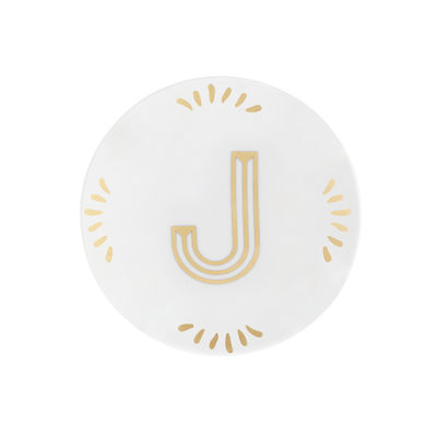 Tableware - Plates - Lettering Petit fours plates - Ø 12 cm / Letter J by Bitossi Home - Letter J / Gold - China