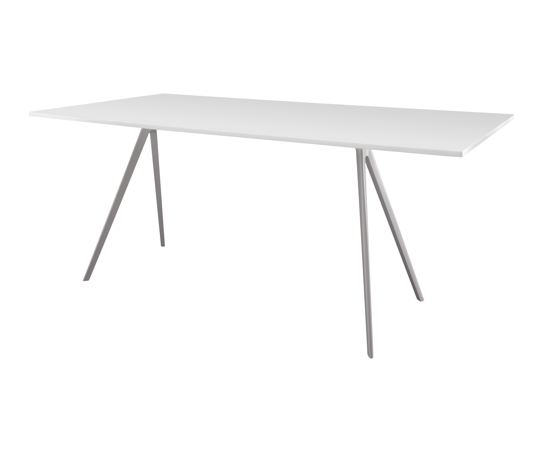 Möbel - Tische - Baguette rechteckiger Tisch 205 x 85 cm - Tischplatte aus MDF - Magis - Tischbeine weiß - Tischplatte MDF weiß - Fonte d'aluminium verni, lackierte Holzfaserplatte
