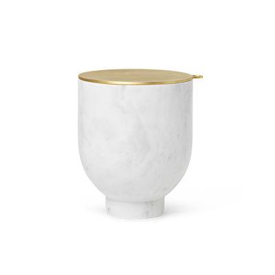 Tavola - Bar, Vino, Aperitivo - Secchiello del ghiaccio Alza - / Marmo & Ottone - Ø 14.5 x H 17 cm di Ferm Living - Bianco & ottone - Marmo