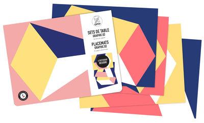 Set de table à colorier Graphics 02 Adultes / Lot de 24 - OMY Design & Play bleu,jaune,corail en papier