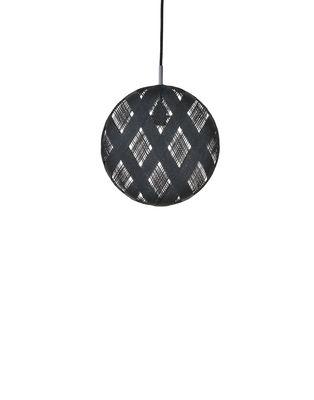Illuminazione - Lampadari - Sospensione Chanpen Diamond - / Ø  19 cm di Forestier - Nero / Motivi losanghe - Abaca tissé