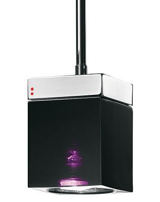 Illuminazione - Lampadari - Sospensione Cubetto - Black Glass - 1 elemento di Fabbian - Nero / viola - Metallo cromato, Vetro