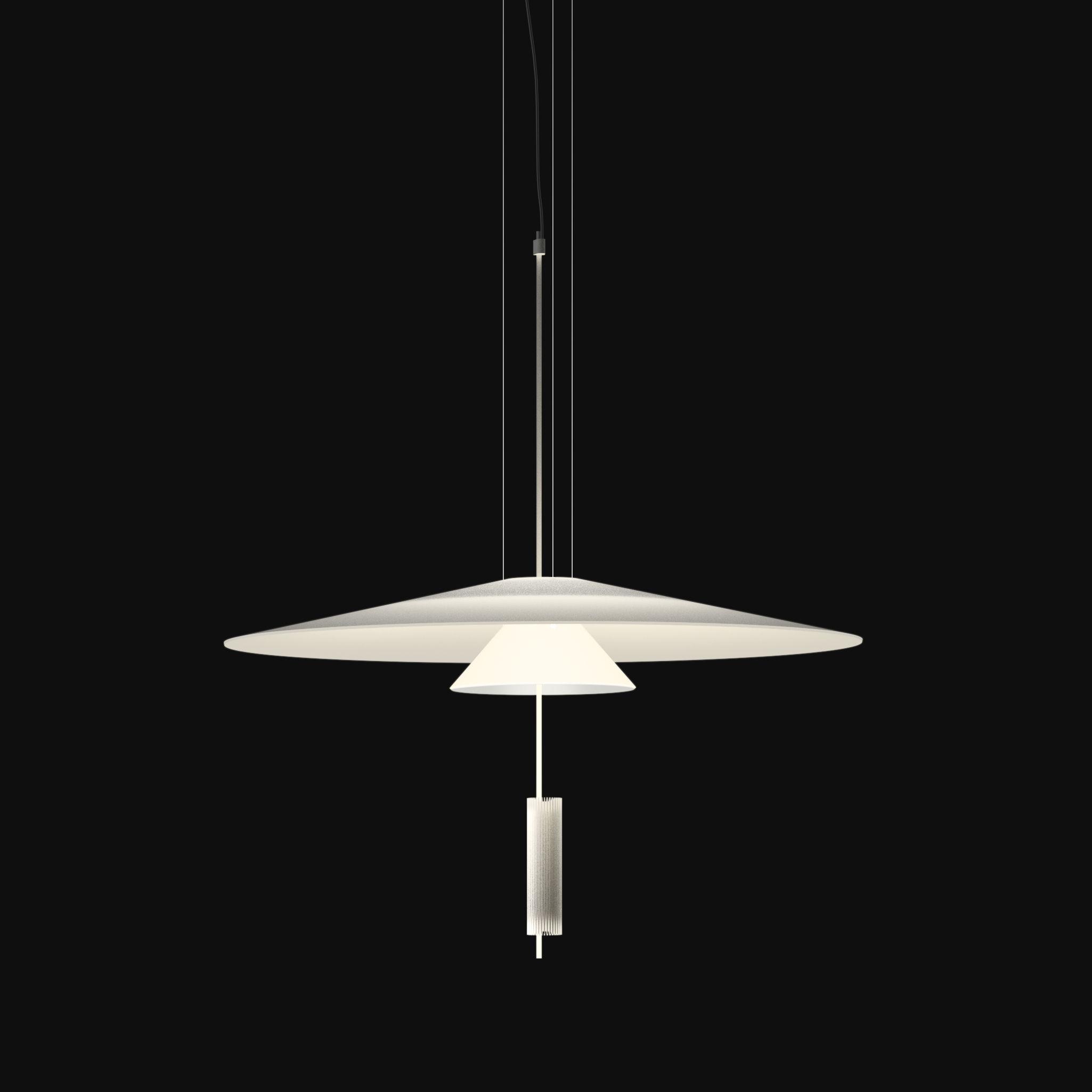 Illuminazione - Lampadari - Sospensione Flamingo - LED / Ø 70 cm di Vibia - Bianco opaco / Bianco - Acrilico, Metacrilato, Metallo