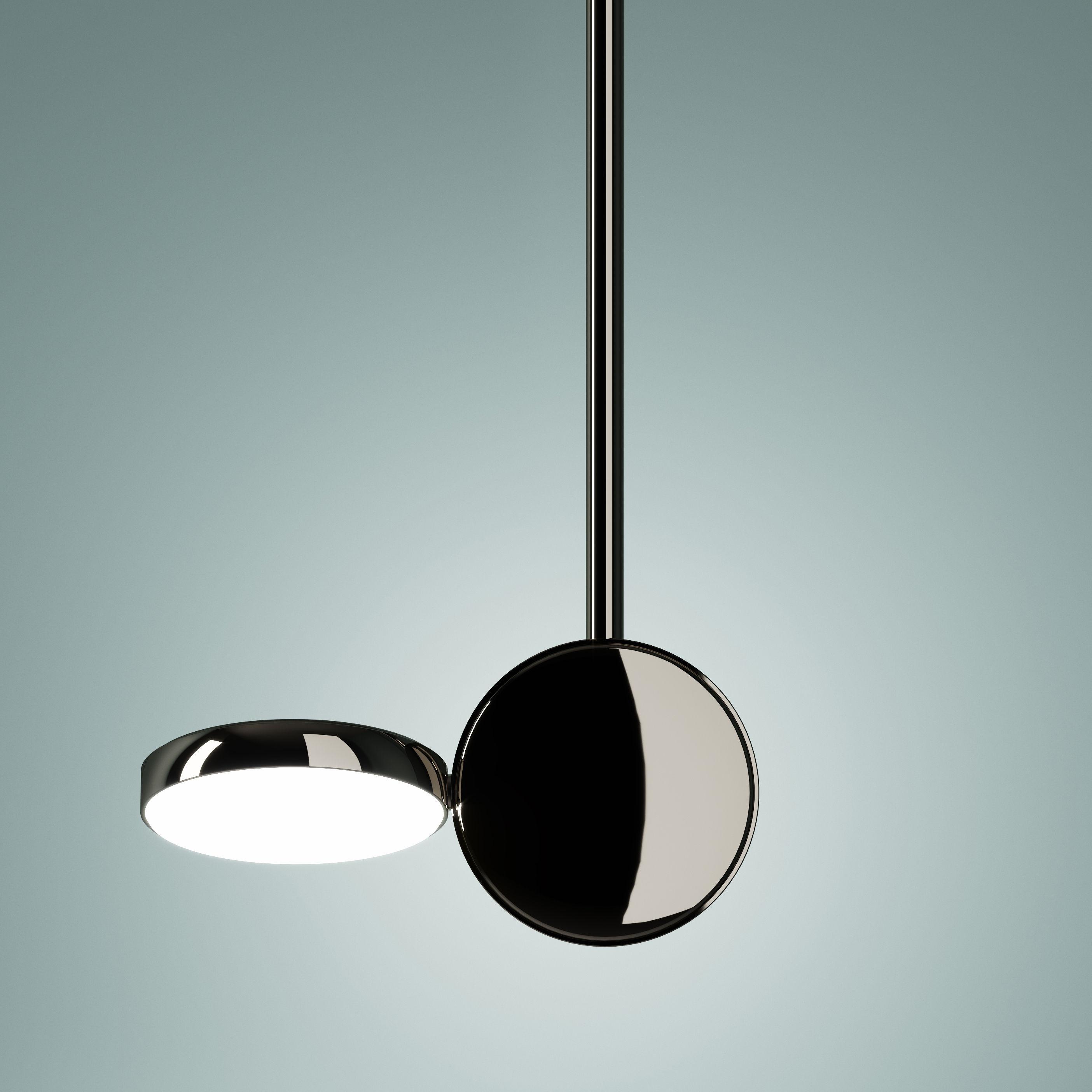 Illuminazione - Lampadari - Sospensione Optunia - / LED - Orientabile - H 56 cm di Fontana Arte - Cromato - Metallo, Vetro